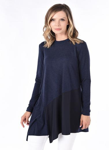 Optique Knitwear Düz Bisiklet Yaka Uzun Kol Penye Bluz Lacivert